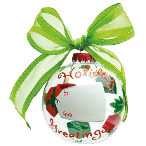 Santa Barbara Design Studio Lolita Holiday Moments Customizable Glass Ball Ornament, Holiday Greetings -