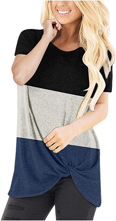 Womens Strappy Cold Shoulder Top O Neck Short Sleeve Tunic Tops Casual Loose Basic T Shirts for Women