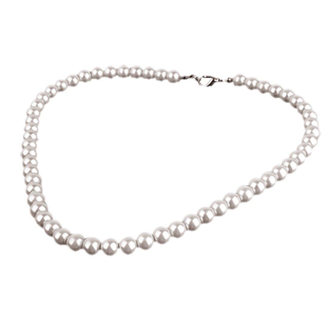 Gleader Collier de perles d'imitation blanc, perimetre de 43cm by Gleader