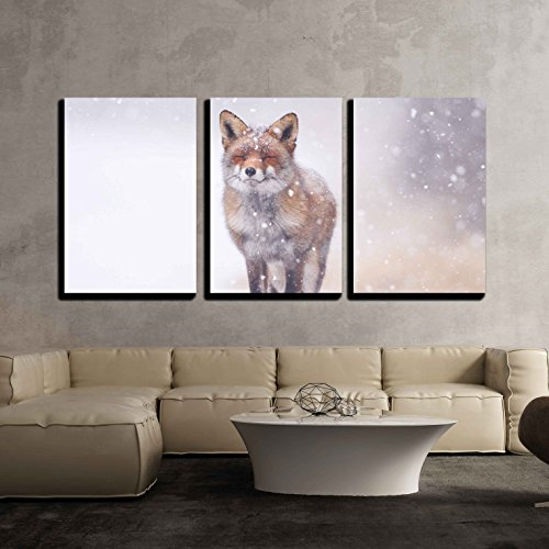 Red Fox in the Snow x3 Panels