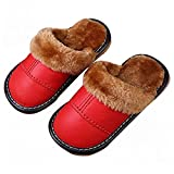 Asunflower Kids House Slippers, Close Toed Leather Mules Slippers Fur Lining Winter Home Shoes for Little Kid, Big Kid
