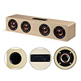 KTLEU 12W high power speakers wood Bluetooth 4.2 speakers with 12 hours of running time hifi high fidelity sound effects (yellow wood)