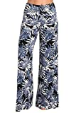 HEYHUN Plus Size Womens Printed Tie Dye Solid Wide Leg Bottom Boho Hippie Lounge Palazzo Pants - Navy Black - 3XL