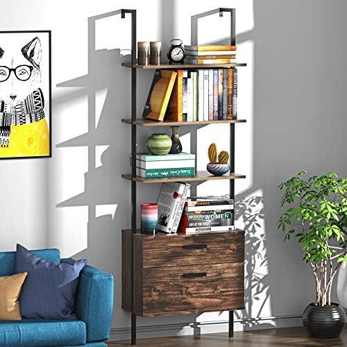UVII Industrial Ladder Shelf with Drawers 3 Tier Open Shelf Storage Rack Shelves Ladder Bookshelf Plant Flower Stand Matte Metal Frame for Home Living Room Office Kitchen