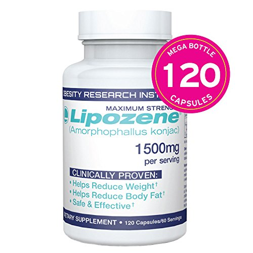 Lipozene MEGA Bottle - 120 Capsules - Largest Size Available - Appetite Suppressant and Control (Best Weight Loss Reviews)