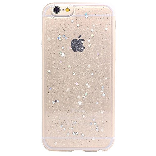 iPhone 6 Case, iPhone 6s Case, BAISRKE Spark Glitter Shine Diamond Star Clear Transparent Soft TPU Back Cover for iPhone 6 6S (Normal 4.7 inches) - - Transparent Glitter