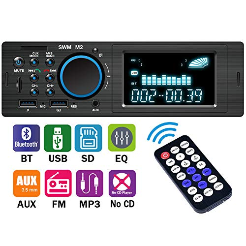 Car Stereo Receiver with Bluetooth,Single Din LCD Car Radio,Multimedia Car Audio,Built-in Microphone,USB/TF Slot/FM/WMA/MP3 Player,Wireless Remote Control
