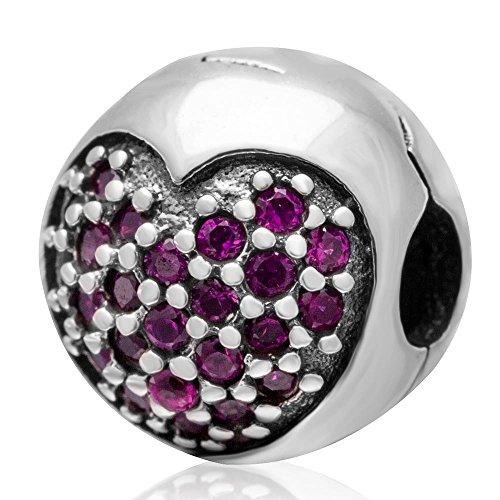 Lock Stopper Charm 925 Sterling Silver Clip Stopper Charm Heart Charm for Pandoar Bracelet (Red) (925 Lock Silver)