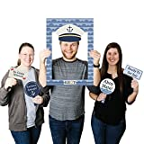 Big Dot of Happiness Ahoy - Nautical - Birthday Party or Baby Shower Selfie Photo Booth Picture Frame & Props - Printed on Sturdy Material