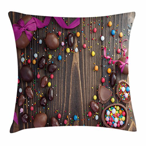Lunarable Easter Throw Pillow Cushion Cover, Wooden Board wi