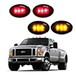 Yortpal 4pcs Ford F350 SIDE MARKER LED Fender Lights for F 350 Super Duty Dually Bed in SMOKED Black Lenses Assembly Red & Amber LEDs 1999 2000 2001 2002 2003 2004 2005 2006 2007 2008 2009 2010