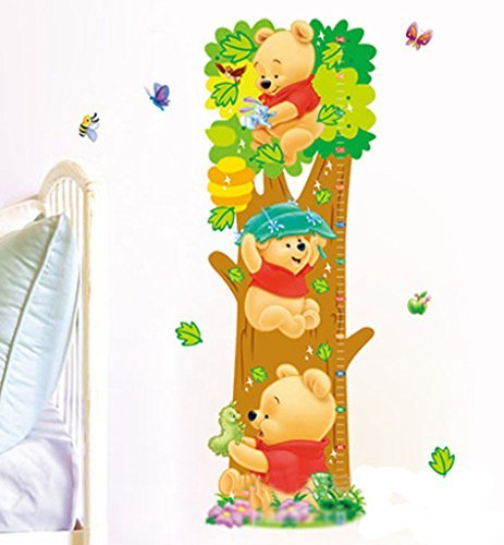 Buy-Box Cartoon Winnie The Pooh Height Growth Chart Removable Wall Art Decal Sticker 26.5*73cm (Winnie The Pooh Height Chart)