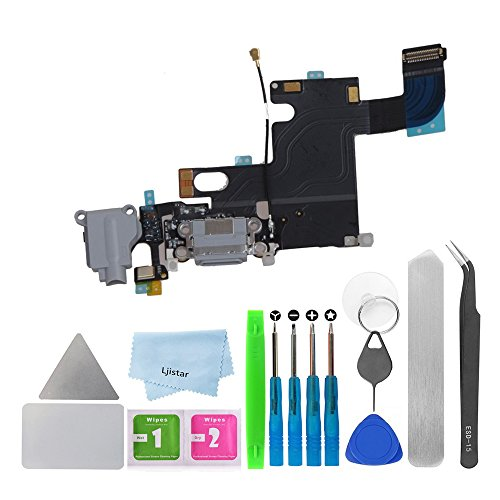 (Replacement Charger Charging Port USB Connector Dock Microphone Headphone Audio Jack Ribbon Flex Cable + Repair Tools for iPhone 6 4.7 (Gray))