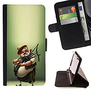 Celtic Scottish Bagpipe Player Kilt Man - Painting Art Smile Face Style Design PU Leather Flip Stand Case Cover FOR Samsung Galaxy S6 @ The Smurfs