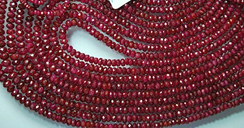 16 inches Strand, Super Finest, with Silver 92.5 Clasp, AAA Natural Ruby Red Longido Ruby Faceted Rondelles, Size 4-2.5mm