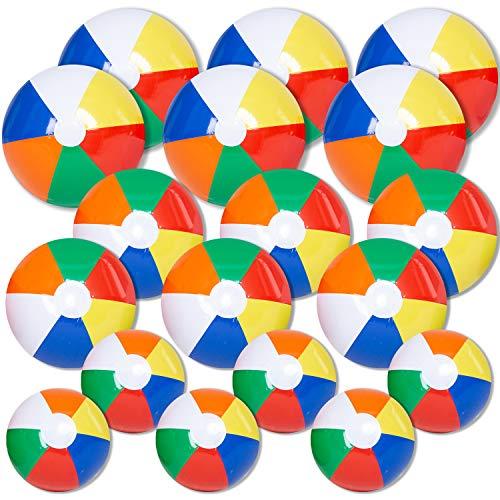 "JOYIN Rainbow Beach Balls (18 Pack), Combo Set Include 18 Inflatable Beach Balls in 20"" (6), 16"" (6) and 12"" (6)"