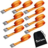 "Automotive : Cartman 1"" x 12' Lashing Straps up to 600lbs, 10pk in Carry Bag"