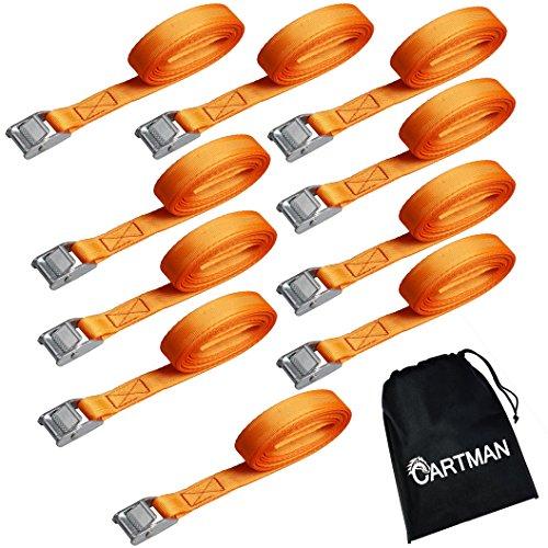 """Cartman 1/"""" x 12/' Lashing Straps up to 600lbs 6pk in Carry Bag 6pk Black"""