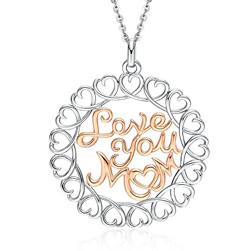"Victoria Jewelry ""Love You Mom"" 925 Sterling Silver Two Tone Necklace - Engraved Jewelry Gifts for Mother"