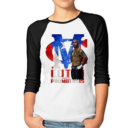 MBMH Women's Miguel Boxer Cotto Raglan Tee Baseball Shirt Black Size -