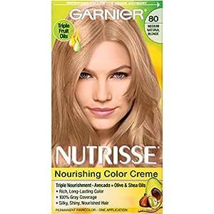 Garnier Nutrisse Nourishing Hair Color Creme, 80 Medium Natural Blonde (Butternut) (Packaging May Vary)