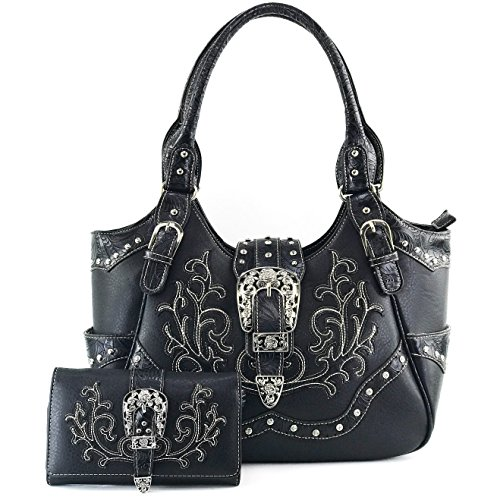 Justin West American Albino Floral Embroidery Buckle Shoulder Concealed Carry Handbag Purse (Black Purse and Wallet Set)