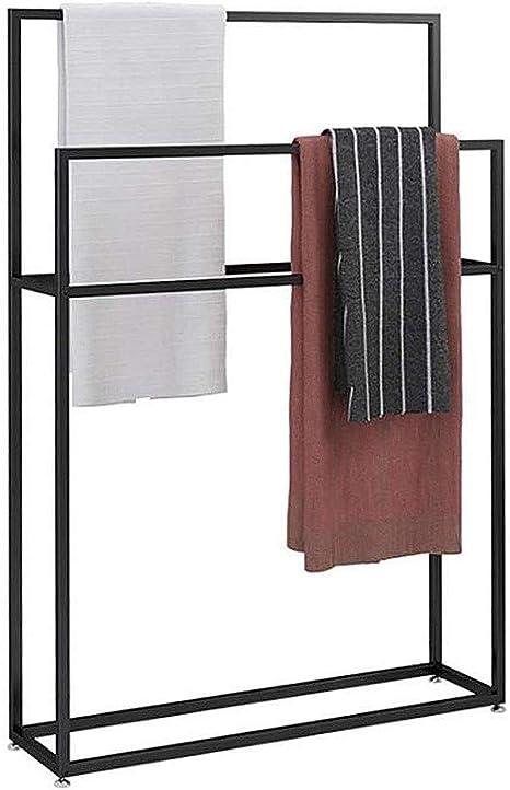 Amazon Com Freestanding Towel Racks For Bathroom Floor Tall Modern Stainless Steel Rack Holder 2 Tier Stand Black Valet Quilt Blanket Bath Towels Clothes 85x20x110 Home Kitchen