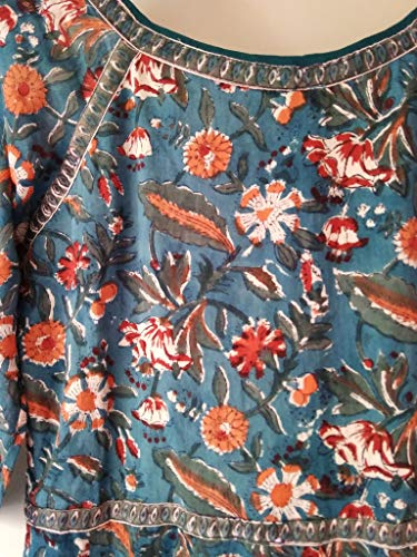 e59e54e748 Teal Blue Red & Orange Chinoiserie Floral Anokhi Hand block print Indian  cotton Gypsy style Maxi