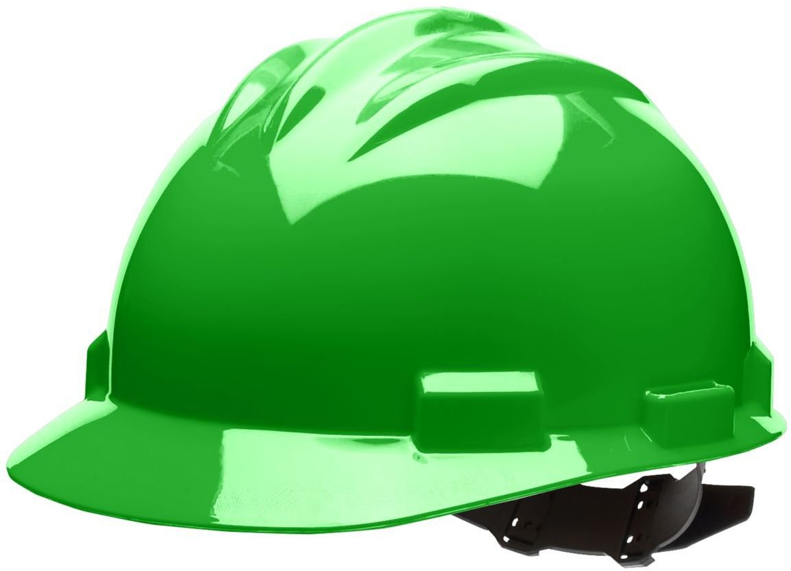 Cotton Brow Pad One Size Bullard 61HGP Standard Series Cap Style Hard Hat 4 Point Pin Lock Suspension Hi-Viz Green