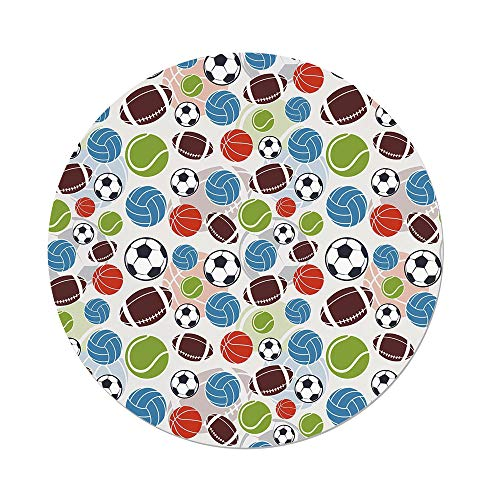 (Polyester Round Tablecloth,Sport,Sports Balls Pattern Abstract Basketball Football Volleyball Tennis Colorful Elements Decorative,Multicolor,Dining Room Kitchen Picnic Table Cloth Cover,for Outdoor I)