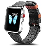 KADES Apple Watch Band 38mm Micro Fiber Wristband with Genuine Leather Decoration for iWatch All Version (Smoked Pearl)