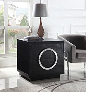 Iconic Home Sorrento Nightstand Side Table Crocodile Lacquer Finish with 2 Self Closing Drawers, Modern Contemporary, Black, Side Table