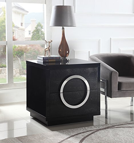 Iconic Home Sorrento Nightstand Side Table Crocodile Lacquer Finish with 2 Self Closing Drawers, Modern Contemporary, Black