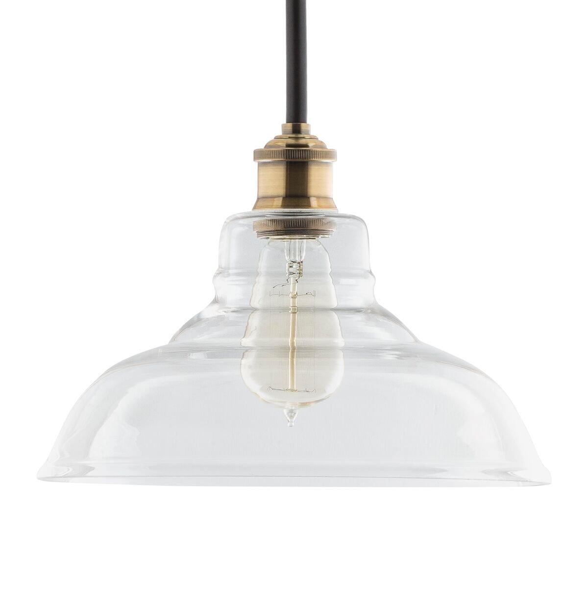 Lucera Contemporary Kitchen Pendant Light - Antique Brass Hanging Fixture - Linea di Liara LL-P431-AB