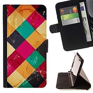 For HTC Desire 820 Case , Patrón acolchado Polígono Rosa Amarillo- la tarjeta de Crédito Slots PU Funda de cuero Monedero caso cubierta de piel