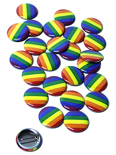 LGBT Pride Rainbow Pinback Buttons - 1 Inch Size - 25 Pack