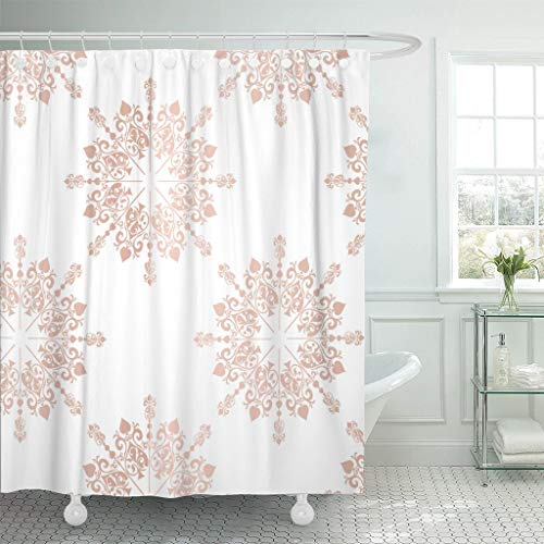 Rdsfhsp Shower Curtain Pink Blush Rose Gold Large Floral Lace Toile Pattern Waterproof Polyester Fabric Set with Hooks ()