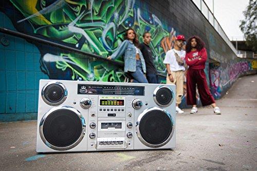 GPO Brooklyn Bluetooth Boombox 80W CD Cassette FM USB (Silver)