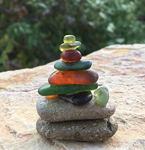 (Minature Sea Glass & Pebbles Cairn ~ Stack #9~ Handmade)