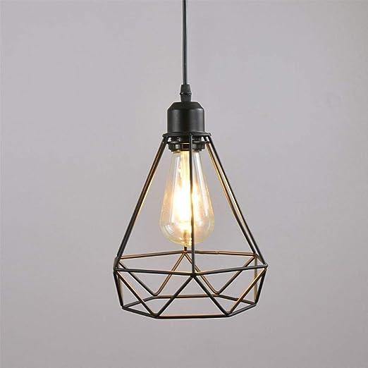 Tritow Lámpara colgante de linterna de jaula de hierro de diamante ...