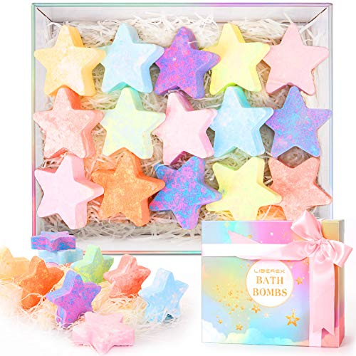 Liberex Bath Bomb Gift Set - 16 Pcs Cute Star Design Fizzies Spa Kit with Natural Essential Oils for Skin Moisturizing and Relaxing, Perfect Present for Kids and Women