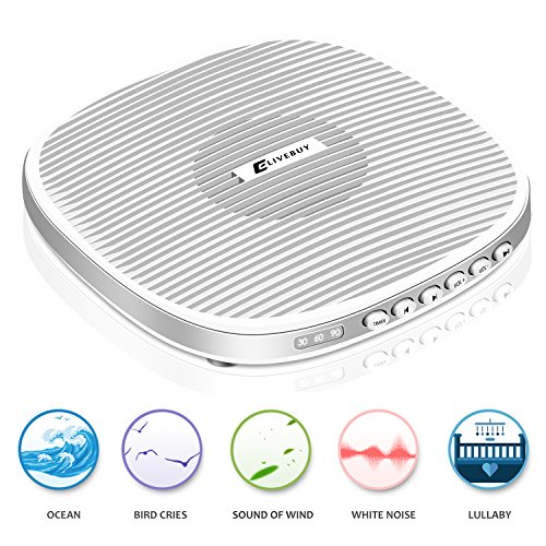 2018 Upgraded Version White Noise Machine, Portable Sound Machine, Sleep Sound Machine with 20 Soothing Natural Sounds Music for Baby,Kids,Adults. Built in USB Output & Timer(Slim Design)
