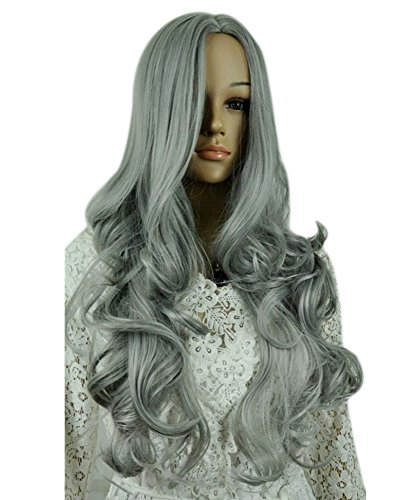[Kalyss Women's wig Long Curly Wavy Gray Wigs for Women Cosplay Costume Wig] (Affordable Costumes)