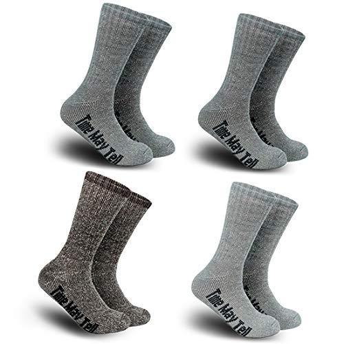 (Time May Tell Merino Wool Hiking Cushion Socks Winter Crew Socks for Men&Women)