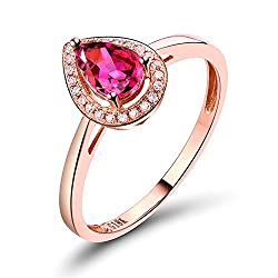 Rose Gold Pink Tourmaline Diamond Ring