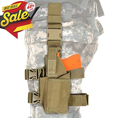CS Force Tactical Drop Leg Holster, Adjustable Gun Holster Thigh Pistol Holster with Magazine Pouches for Left Handed, Tan