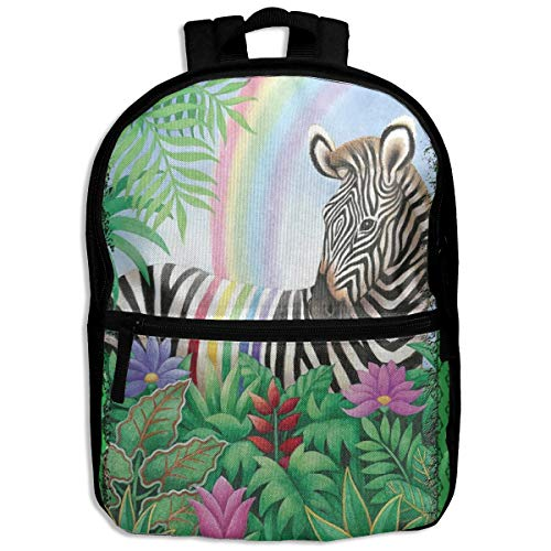 (Kids Backpack Rainbow Stripe Zebra School Hiking Travel Shoulder Bag Student Daypack For Boys Girls)