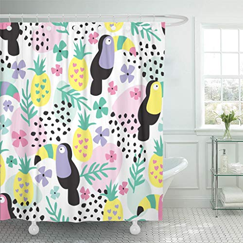 Semtomn Shower Curtain Beak Colorful Jungle Tropical Toucans and Pineapples Green Zoo Shower Curtains Sets with 12 Hooks 72 x 72 Inches Waterproof Polyester Fabric