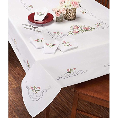 (Craftways® Pink Flower Bouquet Table Linens Stamped Cross-Stitch)
