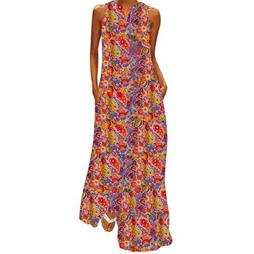 - Qingell Women Bohemia Long Dress Plus Size Sleeveless Striped Beach Butterfly Floral Printed Printed Summer Swing Dress